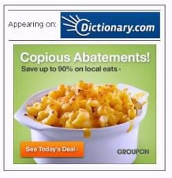 Groupon (advertiser) ad on dictionary.com